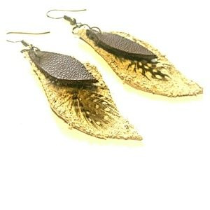 Leather drop earrings with feather detail